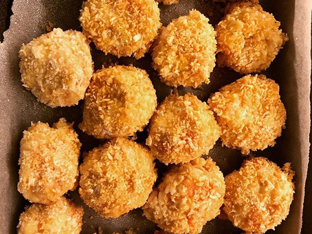 Baked butternut squash and goats cheese arancini!