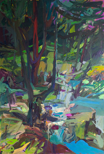 Wooded landscape with figures , 2020