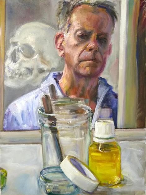 Studio Self-Portrait with Skull, 2019 -2020