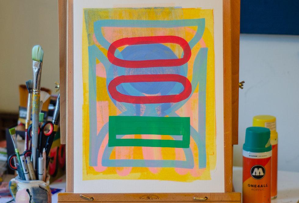 Cécile - A3 Original Acrylic on 300 gsm Canvas Paper