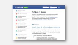 Reprodução da pagina do Facebook que contém a política de dados da empresa.