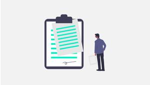 Usuário observando um contrato e os termos da política de privacidade.