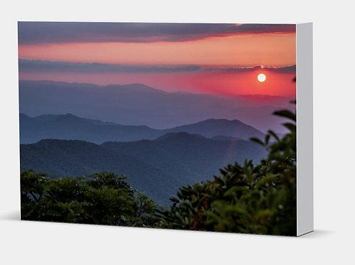 "Blue Ridge Sunset - Canvas Wrap White Edge 1.5"" Frame"