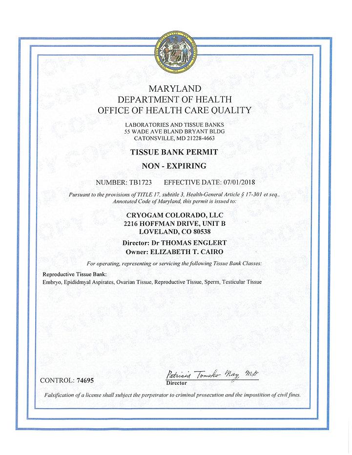 Maryland Tissue License - Non-expiring.j