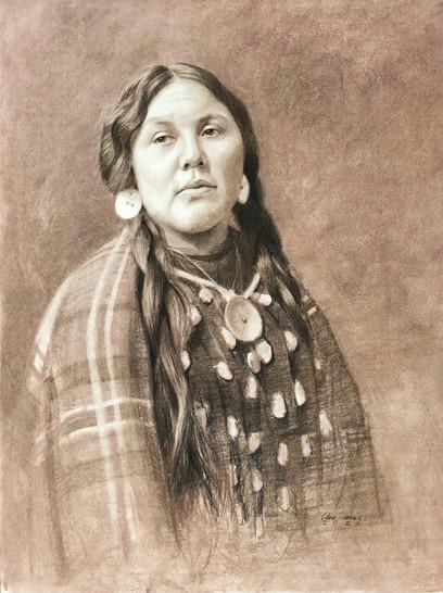 Native American Woman Drawing