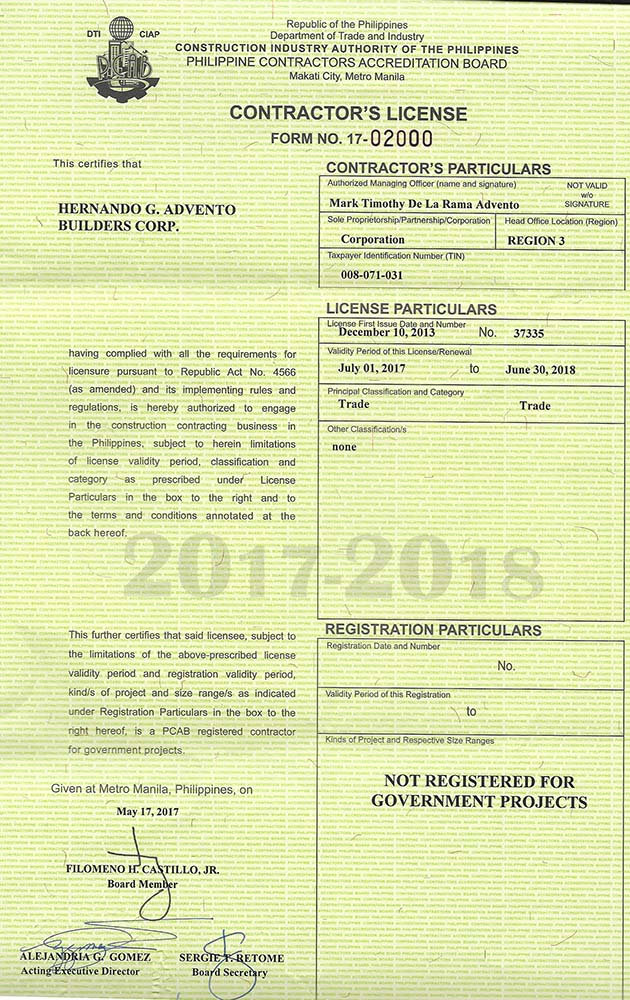 Current business permits and licenses - Advento Builders