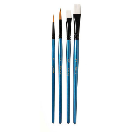 Brush Set - Short - Round and Flat - Assorted Sizes