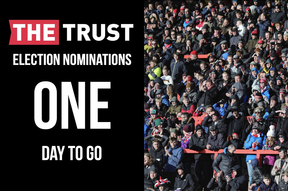 """On the left, the Trust logo and the words """"election nominations, one day to go"""". On the right, Exeter City fans on the Big Bank."""