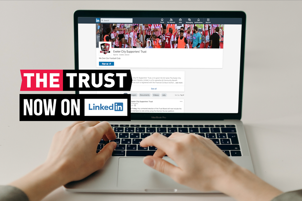 "The Trust's LinkedIn page on a laptop screen. Hands typing on keyboard. The Trust logo and the words ""now on LinkedIn"" superimposed."