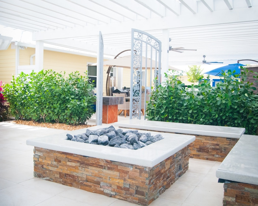 rust stone outdoor fireplace