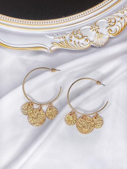 Gold Coins Hoop Earrings