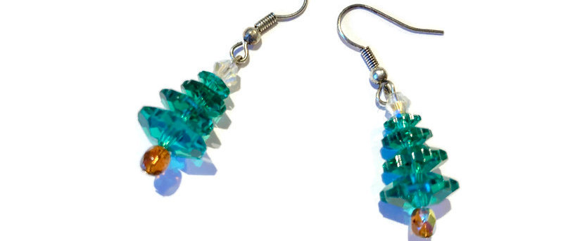 green / copper crystal Christmas tree earrings