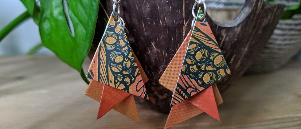 coral leaf recycled earrings