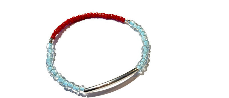 silver, red and blue bead bracelet