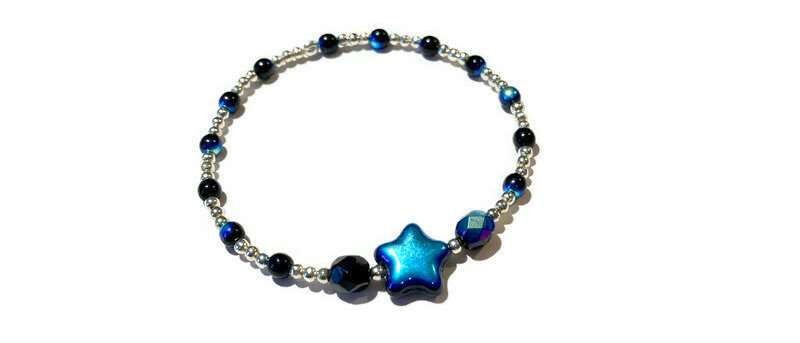 blue / black and silver bracelet
