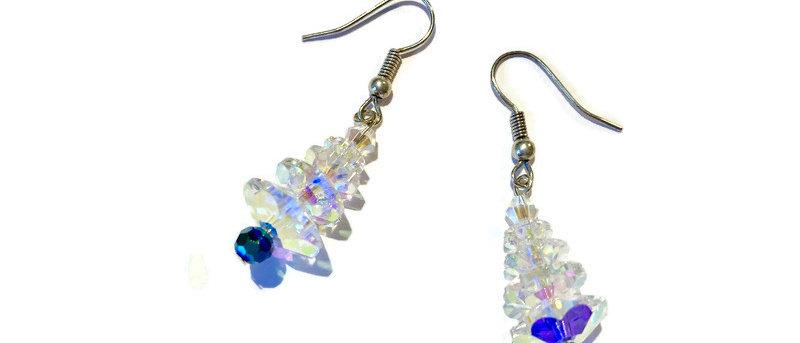 clear / green crystal Christmas tree earrings