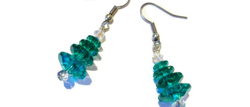 green / blue crystal Christmas tree earrings