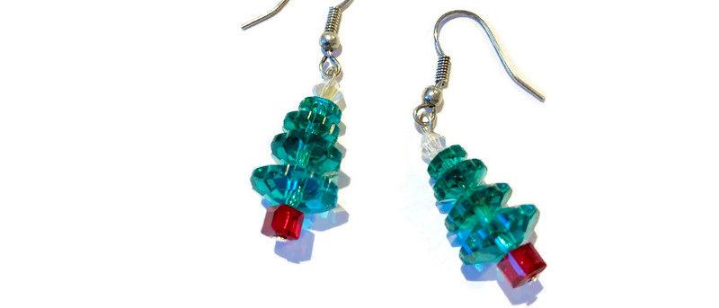 green / red crystal Christmas tree earrings