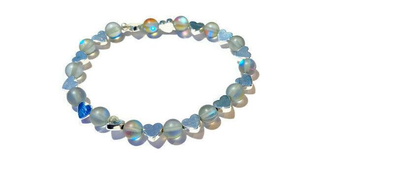 iridescent blue / silver heart bracelet