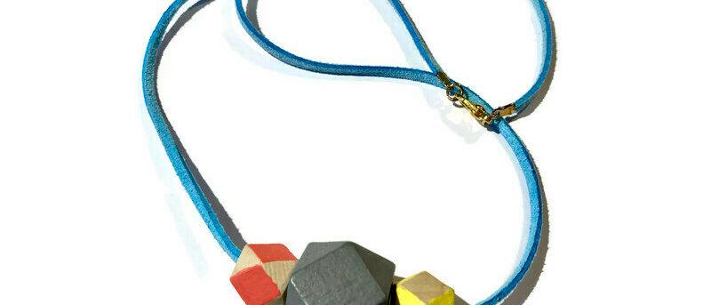 pink / grey / yellow geometric bead necklace