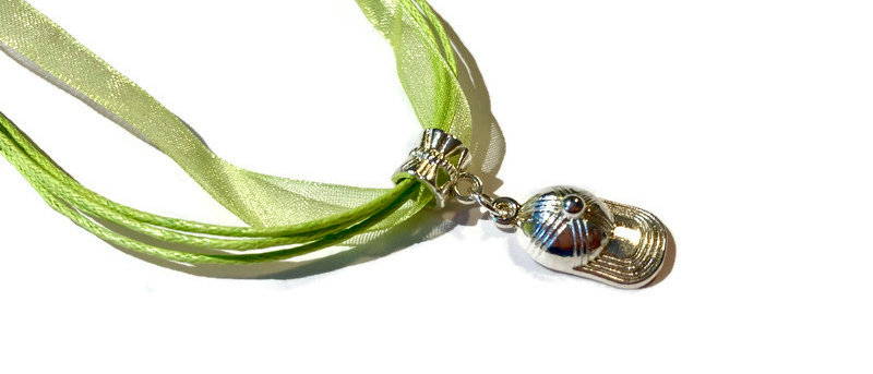 copy of lime green ribbon / cord baseball cap charm necklace