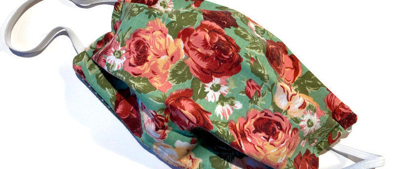 red / pink roses / grey polka dot - large