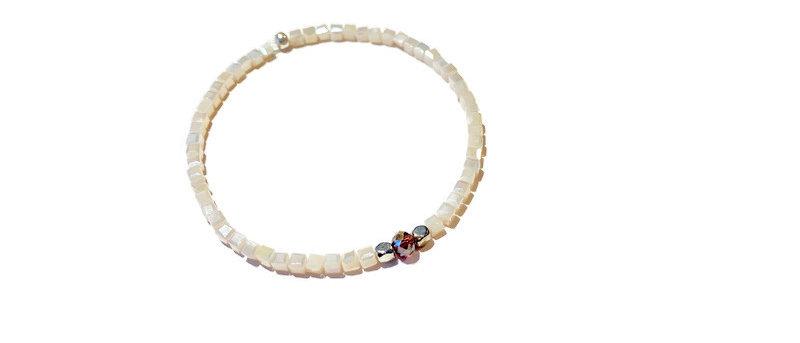 pearlescent white cube bracelet