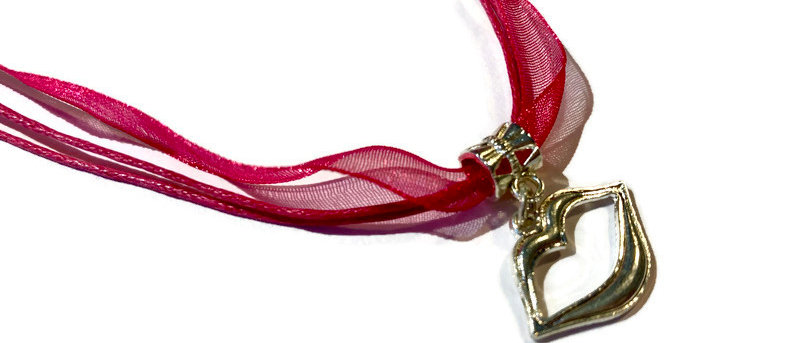 copy of hot pink ribbon / cord lips charm necklace