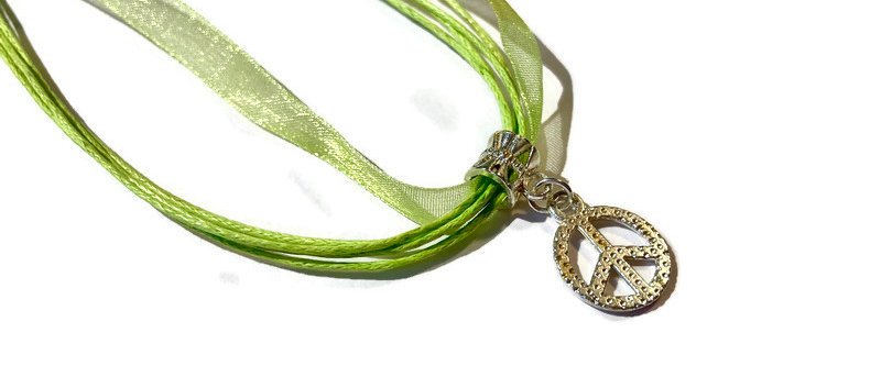 lime green ribbon / cord peace charm necklace