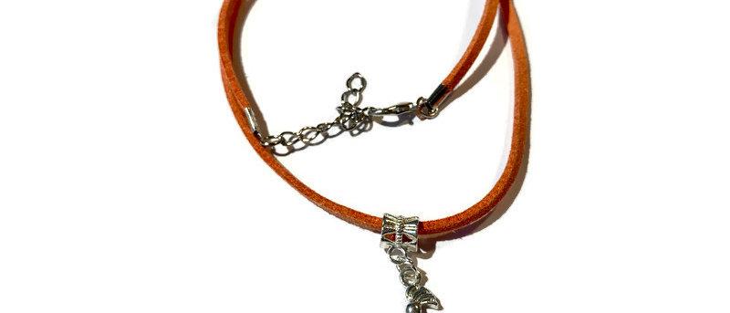 copy of purple leather scissors charm necklace