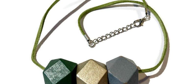 green / bronze / grey geometric bead necklace