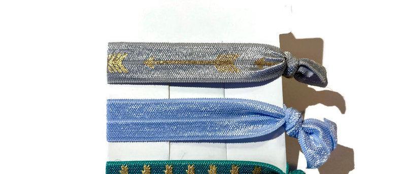 silver gold arrow / blue / green pineapple hair / wrist bands
