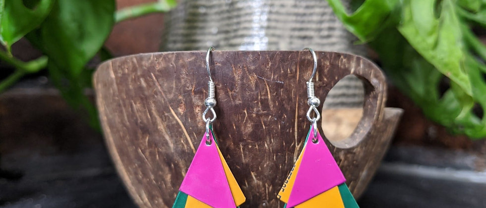 bird of paradise recycled earrings