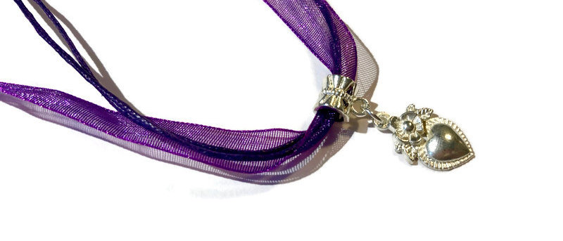 purple ribbon / cord heart charm necklace