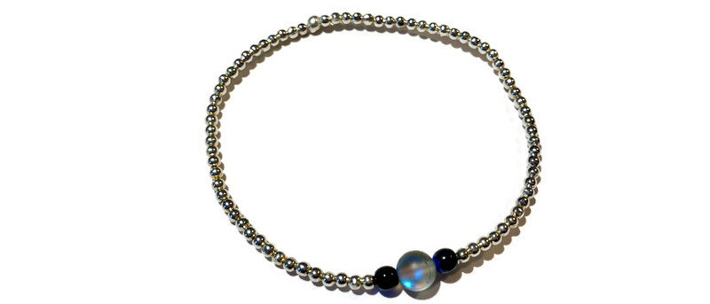 silver, blue/black and iridescent blue bead bracelet