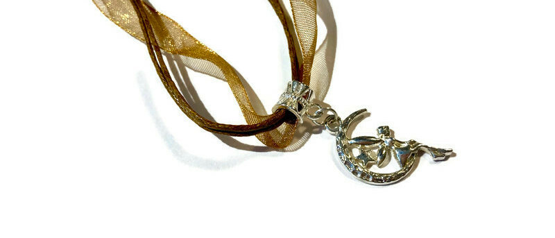 bronze ribbon / cord fairy / crescent moon charm necklace