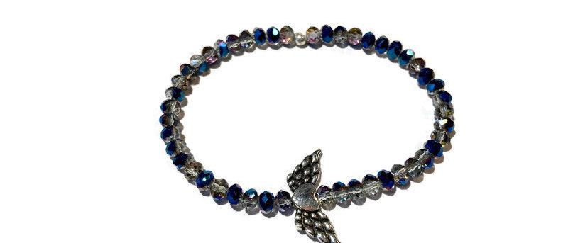 clear / blue / angel wings sparkle bead bracelet