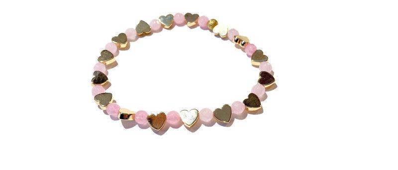 baby pink / gold heart bracelet