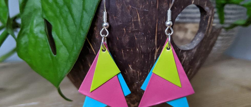 neon neon recycled earrings
