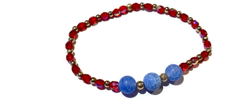 red / blue bead bracelet