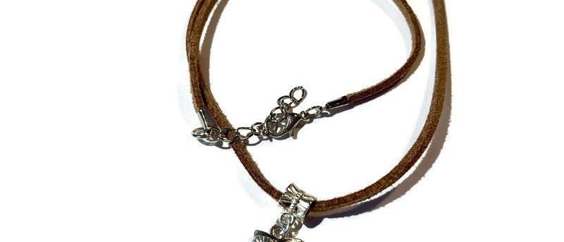 brown leather owl charm necklace