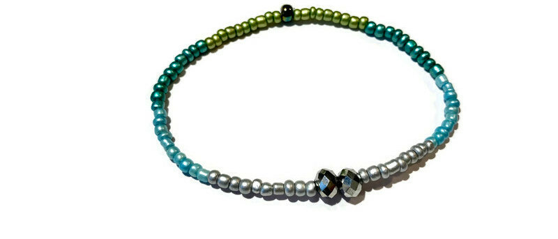 silver / blue / green bead bracelet