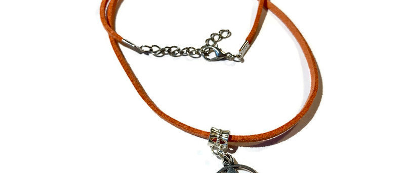 coral pink leather meditation charm necklace