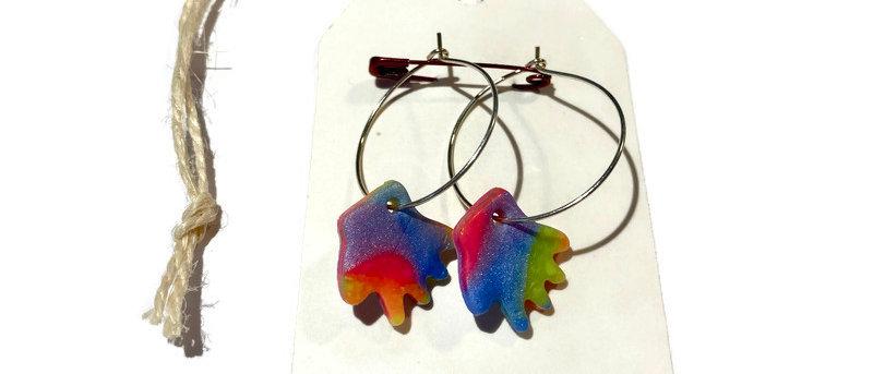neon hands clay earrings