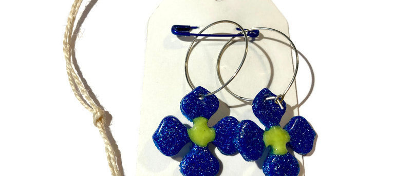 glitter blue and yellow flower clay earrings