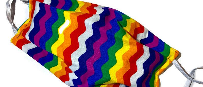 rainbow ricrac / green chevrons - x-large
