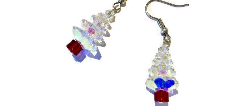clear / red crystal Christmas tree earrings