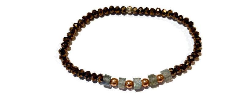 bronze, copper and labradorite bead bracelet