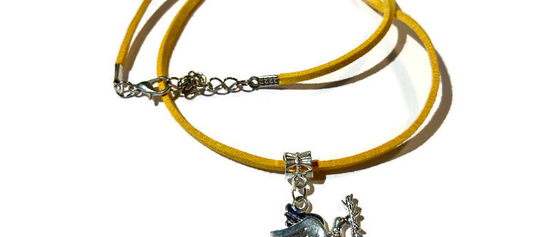 yellow leather dove charm necklace