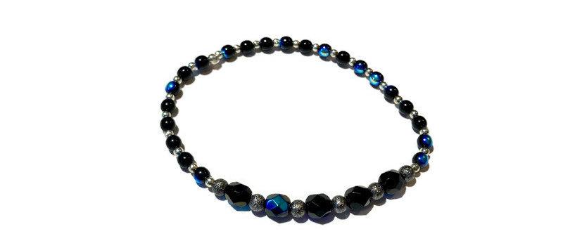 silver and blue/black fire polished bead bracelet